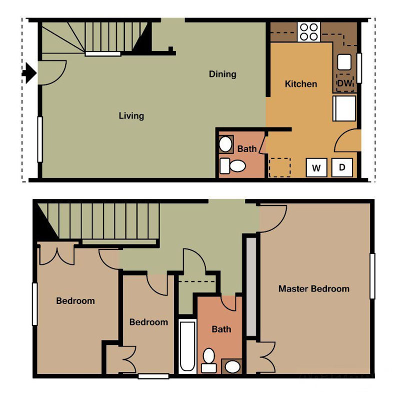 Three Bedroom Plan at Madison Gardens Apartments in Huntsville, AL